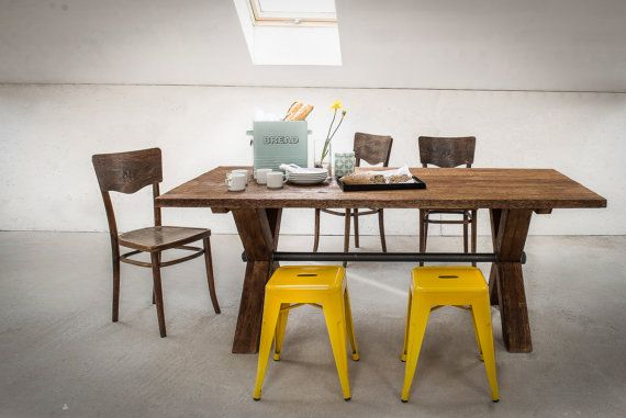 Vintage Industrial Wooden X-frame  Table by KORNIK on Etsy