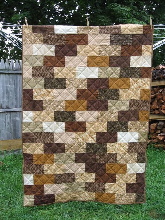 The Brick Wall Quilt... My son would love this on his bed! Looks like camo. Lol