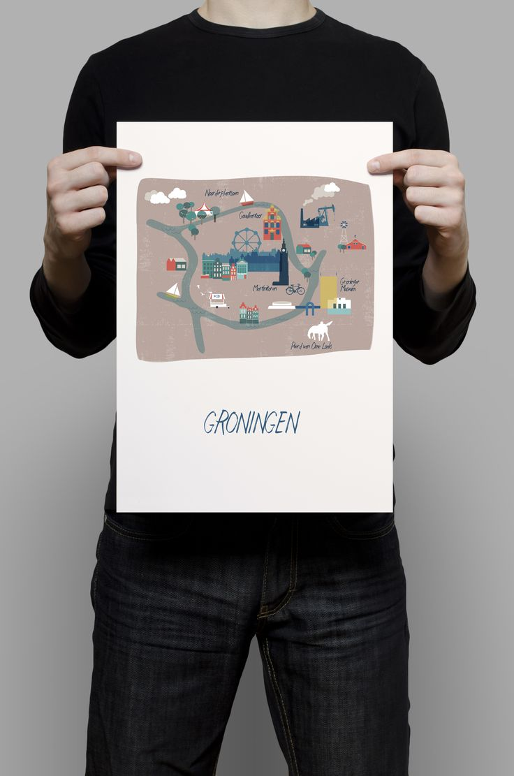 Illustrated city map Groningen by Cake