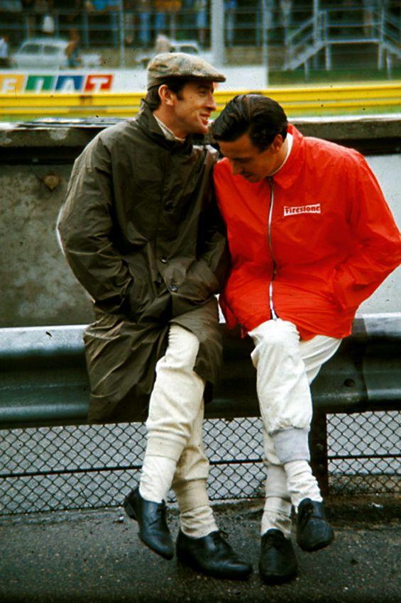 Jackie & Jim at the 1967 Italian Grand Prix, Monza.