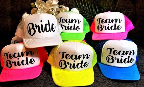 Bride Squad Hats DesignYour Own Neon Trucker Hats Team Bride Hats Pool Party   Bridesmaid Hat NEON PARTY HATS