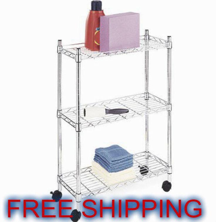 Laundry 3 Cart Tier Storage Rolling White Shelf Metal Rack Utility Organizer Bin