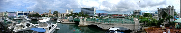 A panorama of downtown Bridgetown, showing Chamberlain Bridge and Parliament Building. Barbados