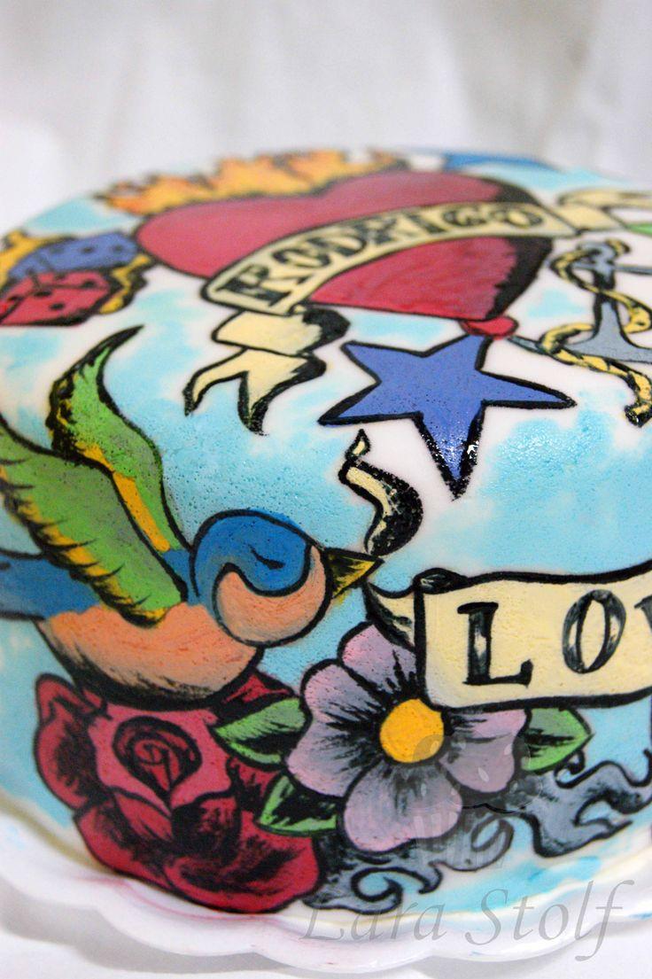 Hand painted tattoo cake