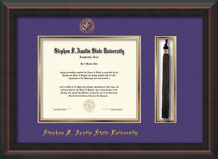 Stephen F. Austin Diploma Frame - Mahog Braid - Tassel - Purple/Gold – Professional Framing Company