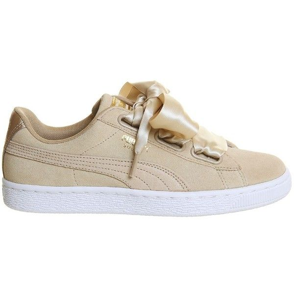 Suede Heart Trainers by Puma (€90) ❤ liked on Polyvore featuring shoes, sneakers, beige, wide shoes, puma footwear, puma trainers, beige sneakers and wide width shoes