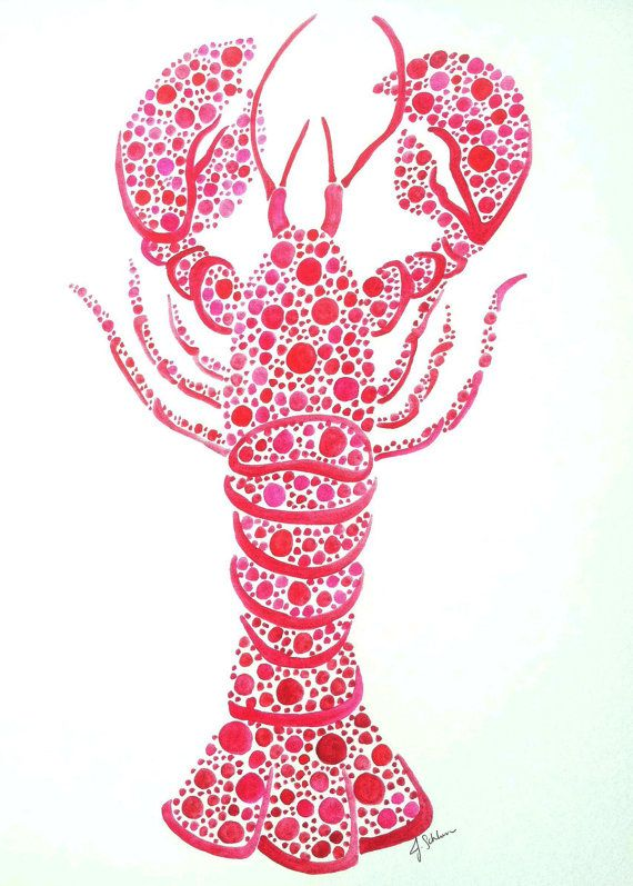 Maine Lobster Original Hand Painted Watercolor Painting, Lobster Art, Nautical Lobster Painting, Maine Lobster, Ocean Watercolor, Beach Art