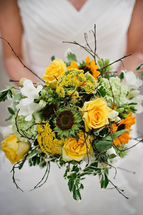yellow wedding bouquet flowers, image by Alexa Loy Photography