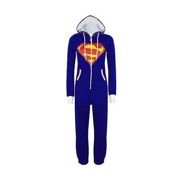 New Womens Mens Superman Batman Onesie Playsuit Ladies All In One... ❤ liked on Polyvore featuring men's fashion, onesie, pajamas, pijamas and one piece