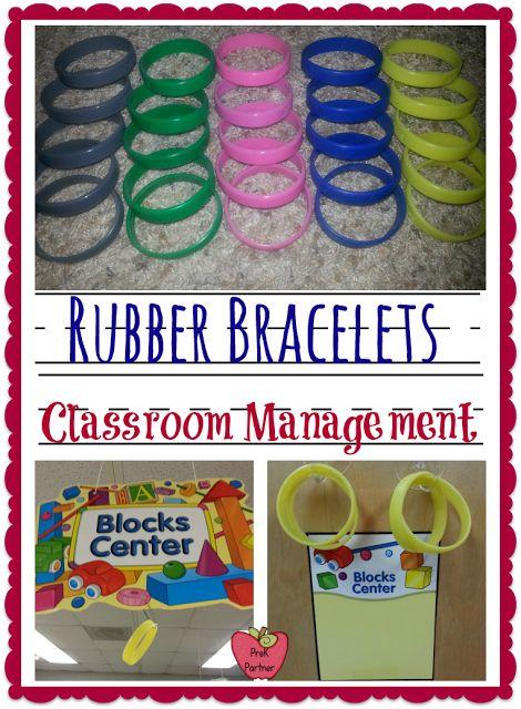 Pre-K children choosing their own learning centers with rubber bracelets!  www.prekpartner.com