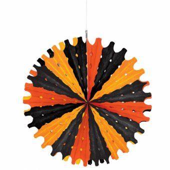 black and orange halloween fan hanging halloween ceiling decorations - Halloween Ceiling Decorations