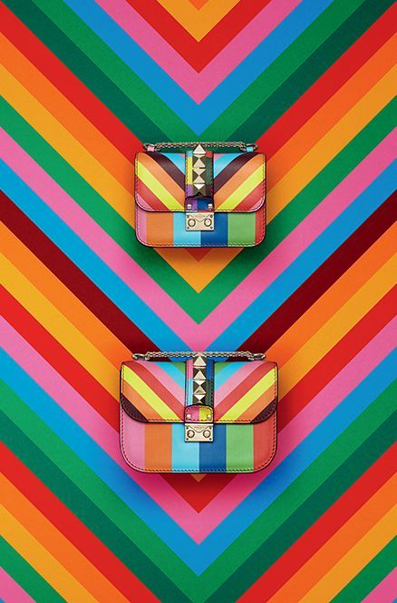 Valentino rainbow fashion accessories, fashion photography, product photography, inspiration, bags