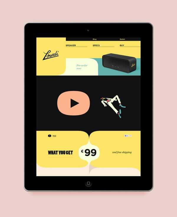 Lowdi  Beautiful Flat UI Design  yellow, retro