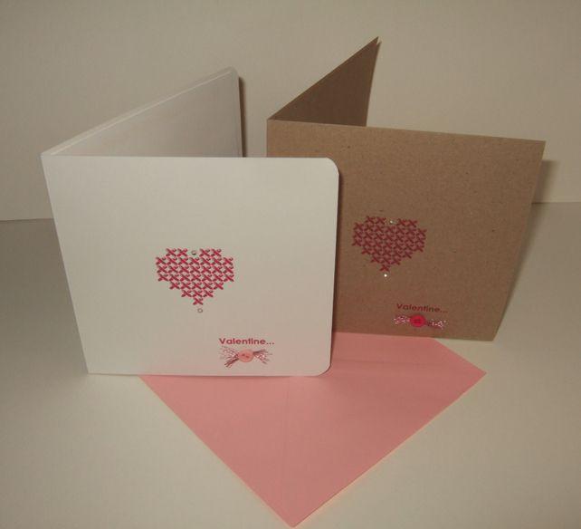Valentines Day CardCross Stitch Heart DesignHandmade