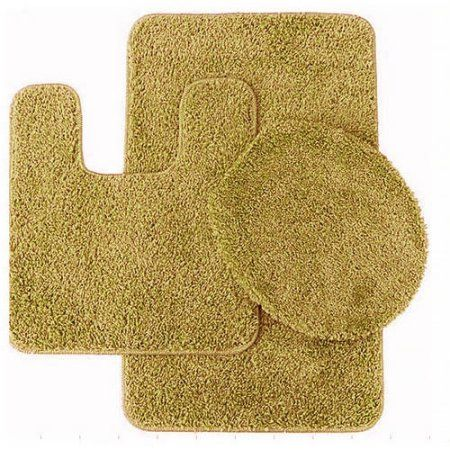 Layla 3 Piece Shag Bathroom Rug set- Bath mat, Contour and Seat Cover, Gold
