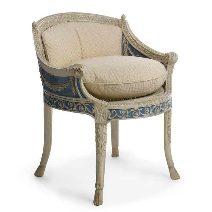 A Louis XVI blue and gray painted bergre
