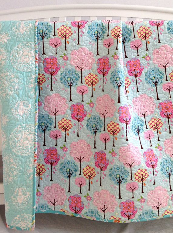Modern Baby Girl Quilt with Colorful Trees by KimsQuiltingStudio, $139.99