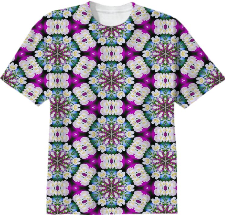 Bright purpel blue white checked flowery ethno pattern T-SHIRT from Print All Over Me