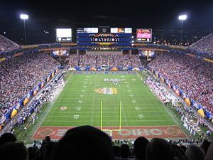 Sun Devil Stadium has been the setting for several movies over the years. Some of them include Cameron Crowe's 1996 blockbuster film Jerry Maguire, U2's 1988 rockumentary Rattle and Hum, The Rolling Stones' 1983 concert film Let's Spend the Night Together, 1976's A Star is Born, with Barbra Streisand and Kris Kristofferson, the Coen Brothers 1987 film Raising Arizona, and the 1980 film Used Cars. In 2003, the stadium was also featured on the Finale episode of The Amazing Race 4.