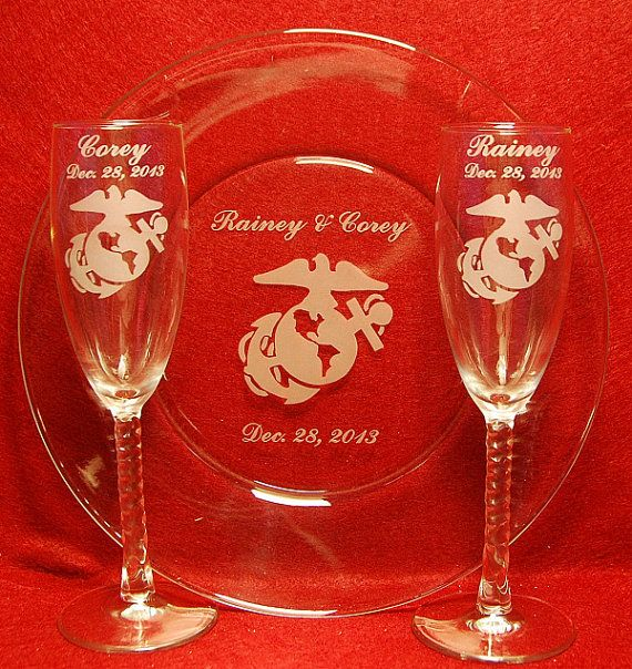 toasting flute glasses and Cake Plate