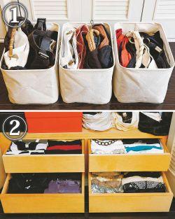 (1) 「バッグは横置きにすると取り出すときになだれを起こすので、キャンバス地のスクエアボックスに収納し、タテ置きにします。色移りを防ぐために袋に入れるけど、通気を考えてちょっとずつバッグの顔を出してあげるのも忘れずに」  過去の失敗をベースに導き出されたお手入れ重視の収納テクニックは、おしゃれ好き女子の参考になること間違いなし。   (2) クローゼットの中はスクエアボックスを使って空間を効率よく整理。下部の木の引き出しには右上にカジュアルなTシャツ類、右下にデザインに凝ったカットソー、左上に薄手のニット、左下にブランドものの上質素材を分類収納。スカーフなど小物類もクリアボックスに取り出しやすくしまう  (3) 書類や取扱説明書などはIKEAのファイルボックスで整理。目立たせたくない部分は白で隠すのが栗本流
