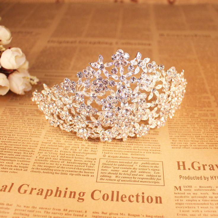 Ар-деко сияющий большой кристалл стразы цветок свадебная тиара повязка на голову свадьба принцессы королева корона