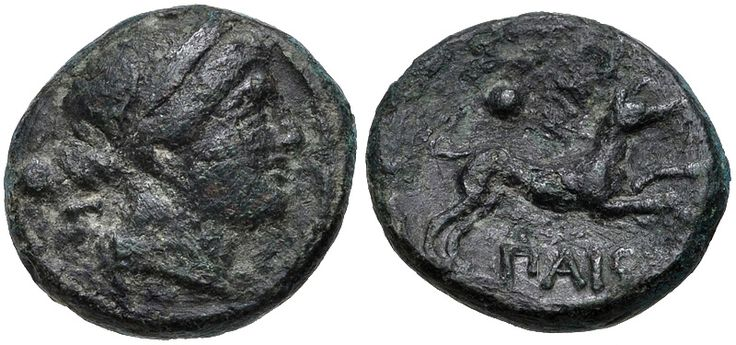 LUCANIA, Paestum (Poseidonia). Second Punic War. 218-201 BC. Æ Sescuncia (14mm, 2.39 g, 7h). Wreathed head of Demeter right; behind, pellet and Σ (mark of value) / Dog running right; above, pellet and Σ (mark of value). Crawford, Paestum 5/4a; HN Italy 1194. Near VF, rough dark green patina
