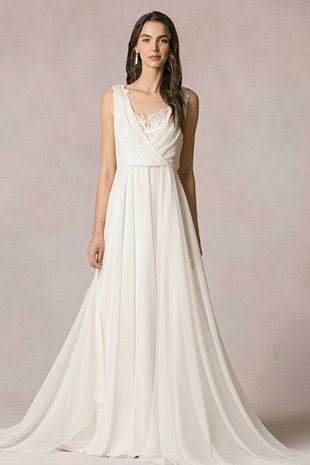 Athena from Jenny Yoo wedding dresses 2016 -Full a-line chiffon skirt, pleated chiffon V-neckline over a satin bodice - see the rest of the collection on www.onefabday.com