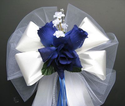 ROYAL blue / WHITE satin wedding pew bows decorations