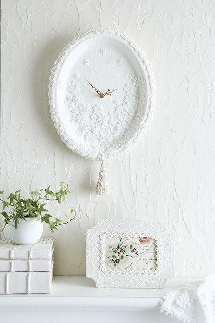 100均紙皿で簡単カルトナージュホワイトエレガントな時計作り