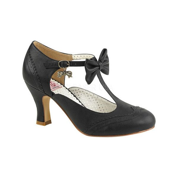 Women's Pin Up Flapper 11 T-Strap Mary Jane ($57) ❤ liked on Polyvore featuring shoes, black, casual, heels, high heeled footwear, black mary jane shoes, black kitten heel shoes, black heeled shoes and black mary janes