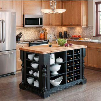 Exceptional Jeffrey Alexander Entertaining Kitchen Island With Hard Maple Edge Grain  Butcher Block Top | KitchenSource.