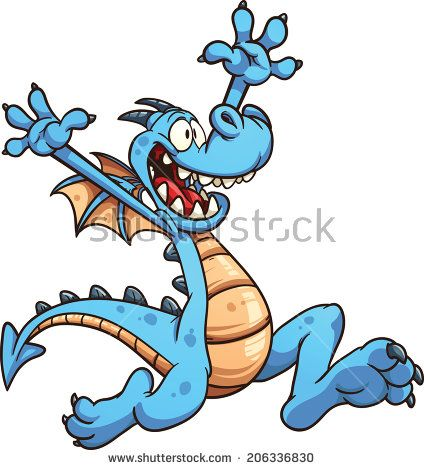 Happy cartoon dragon. Vector clip art illustration with simple gradients. All in a single layer.