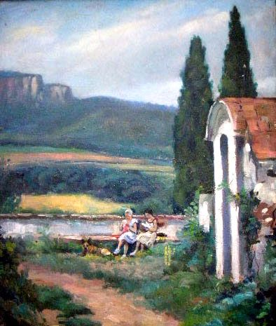 Landscape with figures. Oil on canvas, 74x60 cm. From 1960, and signed by Eladio Puch.