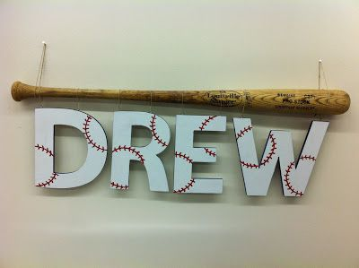 Baseball decor- cute idea for a first homerun,  use the bat they used to hit it.