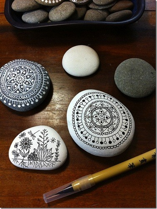 Mandalas on stones. Very meditative.
