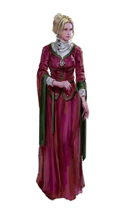 Female Human Aristocrat Red Dress - Pathfinder PFRPG DND D&D 3.5 5th ed d20 fantasy