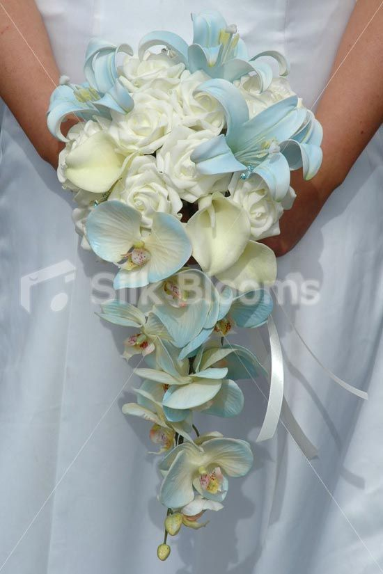 Beautiful Ivory & Blue Bridal Bouquet w/ Orchids, Roses & Lilies