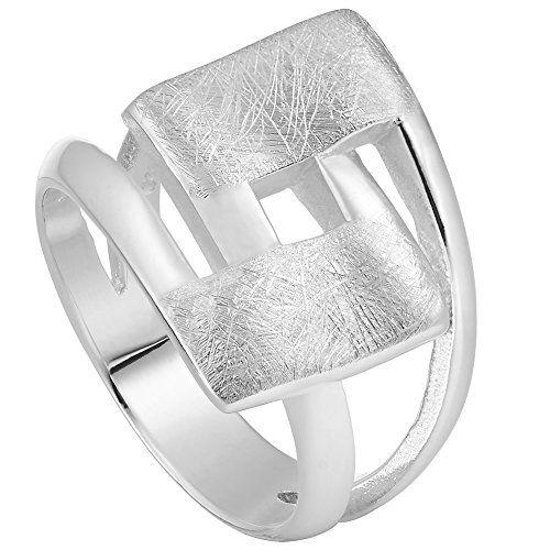Vinani Ring Design Viereck geschwungen gebürstet massiv Sterling Silber 925 Größe 54 (17.2) 2RHL-54