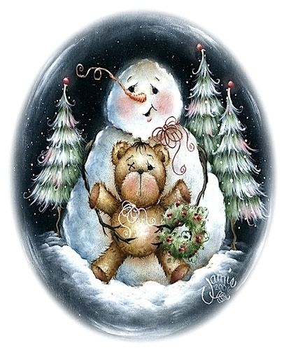 Snowman with his friend, Teddy.
