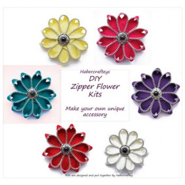 "3"" Zipper flower brooch / hairclip DIY Kit - SINGLE pack - make your own zip flower - tutorial"