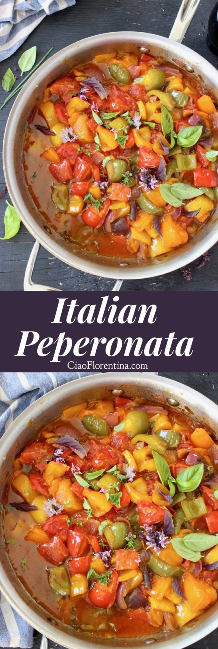 Peperonata Recipe, a Southern Italian sauce / stew traditionally from Calabria, made of stewed peppers, tomatoes and onions. Vegetarian, vegans and gluten free | CiaoFlorentina.com @CiaoFlorentina