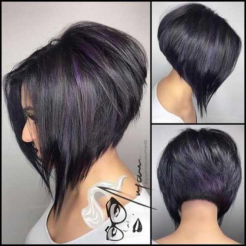 Black Hair Bob Cut Back of View