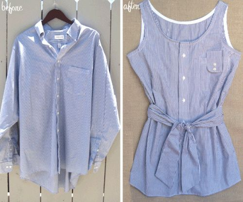 DIY Men's Shirt Refashion --> Love this! Check out old shirts in thrift stores & Dad's old stuff!