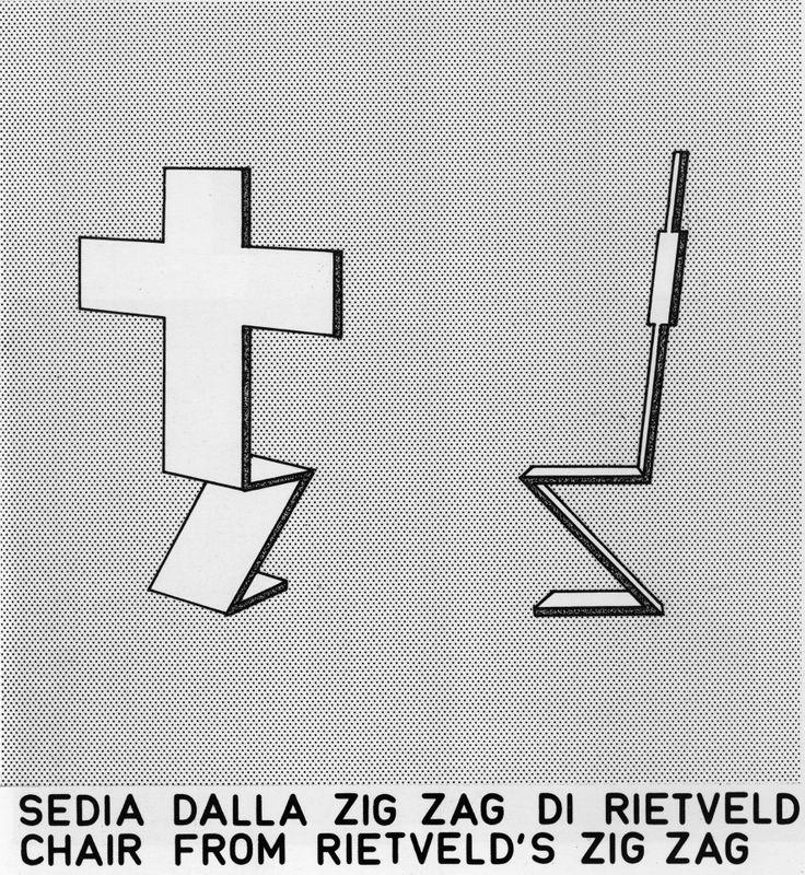 Disegno per il redesign della sedia Zig-zag di Rietveld, 1975