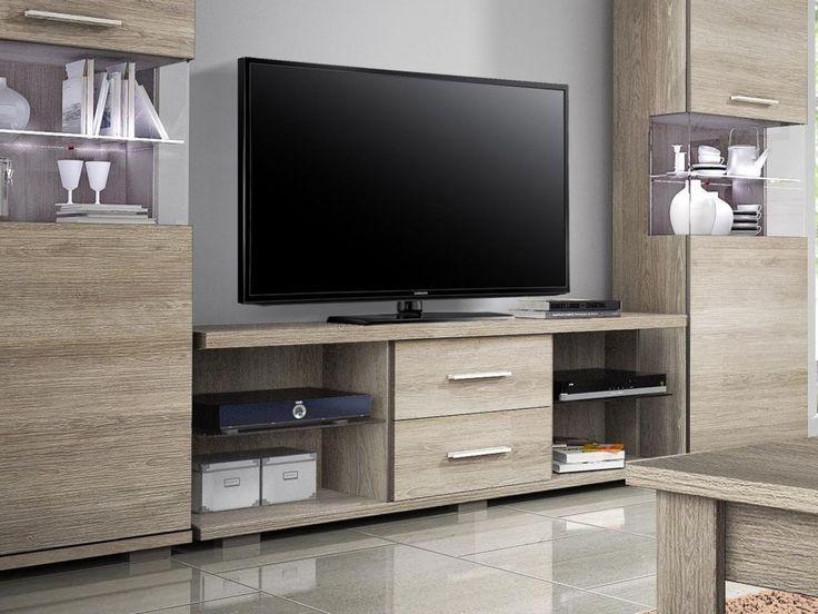 meuble tv couleur chne vieilli blanchi contemporain faustina salle de bain pinterest meuble tv tv et contemporain - Grand Meuble Tv Bibliotheque