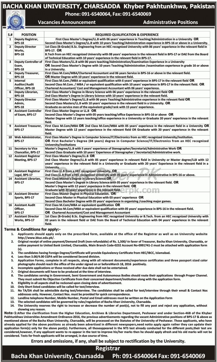 Job Opportunity In Bacha Khan University Charsadda Khyber Pakhtunkhwa For ‪#‎jobs‬ detail and how to apply: ‪#‎paperpk‬ http://www.dailypaperpk.com/jobs/247489/job-opportunity-bacha-khan-university-charsadda