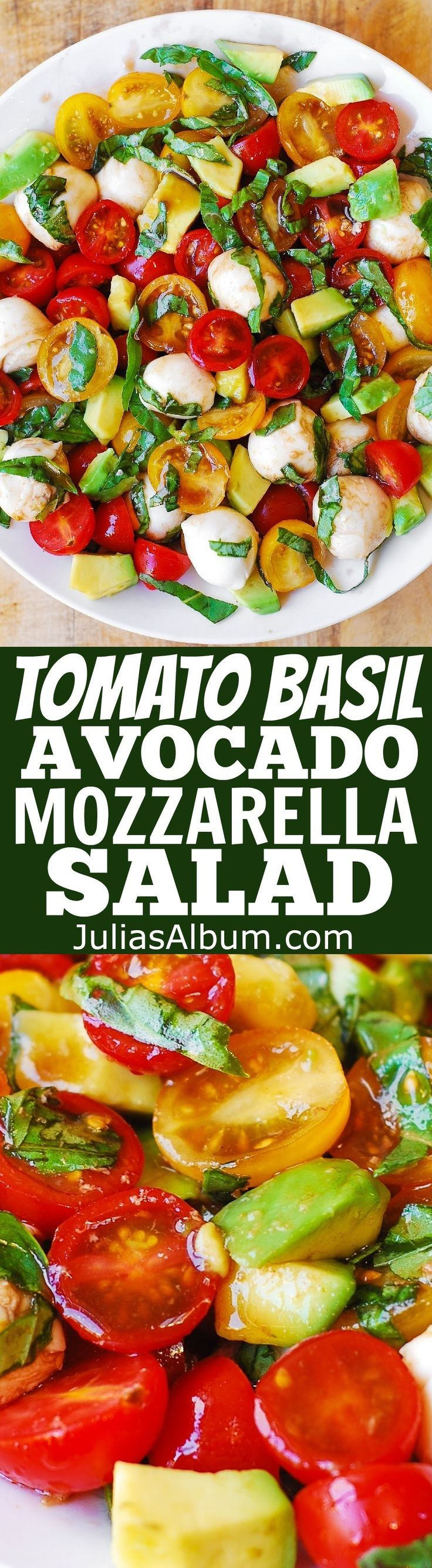 Tomato Basil Avocado Mozzarella Salad with Balsamic Dressing - #healthy #glutenfree #SUMMER