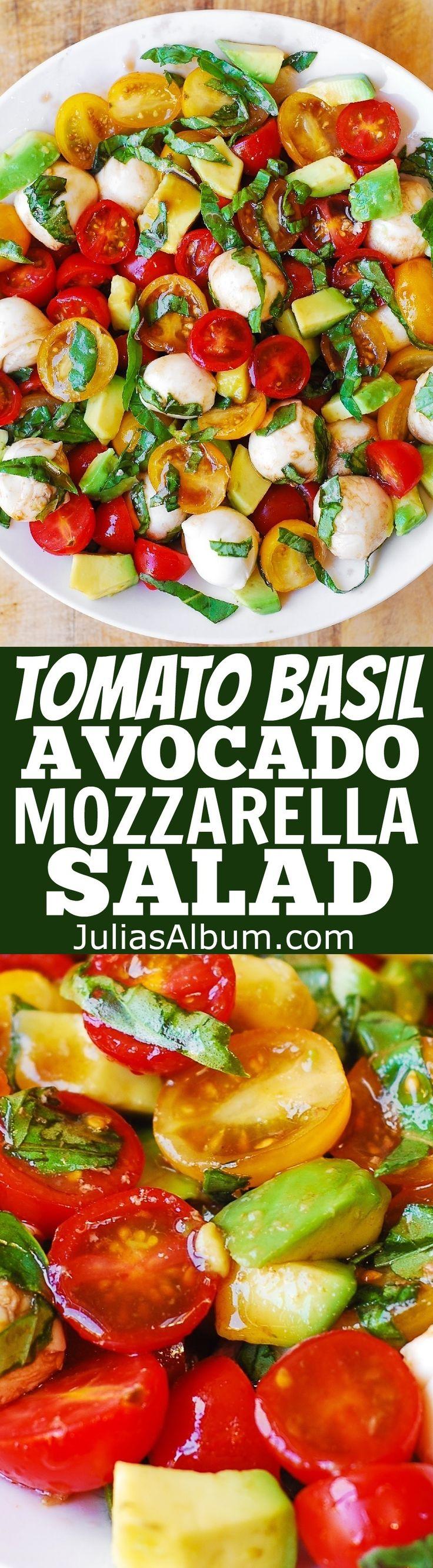 Tomato Basil Avocado Mozzarella Salad with Balsamic Dressing - #healthy #glutenfree #SUMMER