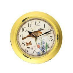 Yellow is a sporty fun and playful color which is why I love yellow home wall art décor. Yellow wall art is the epitome of lively and bold. Yellow is a happy color and therefore great for decorative accents. Yellow decorative accents look amazing in any room. #yellow #yellowdecor   Adeco CK0053 Yellow Iron Vintage-Inspired Circular Wall Hanging Clock, Bird & Flower Detail Home Decor, Khaki, Yellow
